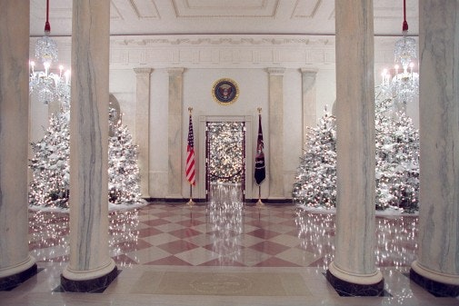 The Grand Foyer of the White House is decorated for the holidays Dec. 3, 2001. Photo by Tina Hager, Courtesy of the George W. Bush Presidential Library and Museum