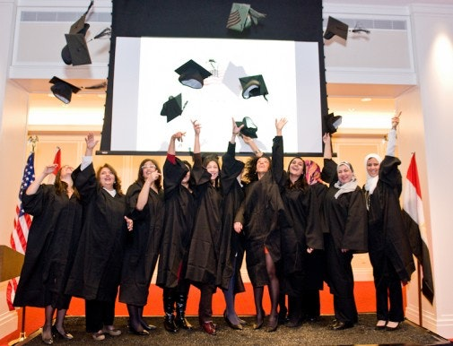 Egyptian women celebrate their graduation from the Women's ...