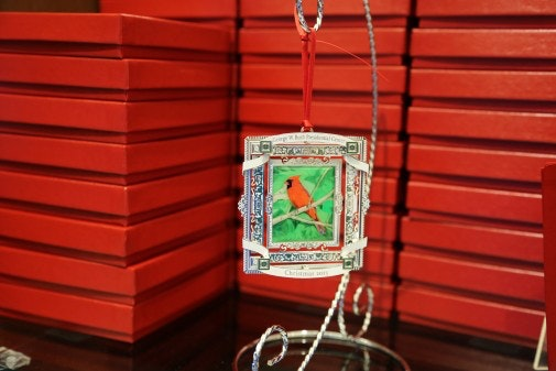 Exclusively designed 2013 commemorative Christmas ornaments, available as a three dimensional metal ornament reminiscent of the White House Historical Association. Framed art is an untitled work painted by President George W. Bush.